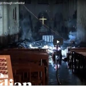 Így néz ki belülről a Notre Dame a tűz után! Videó a tűz utáni állapotról!